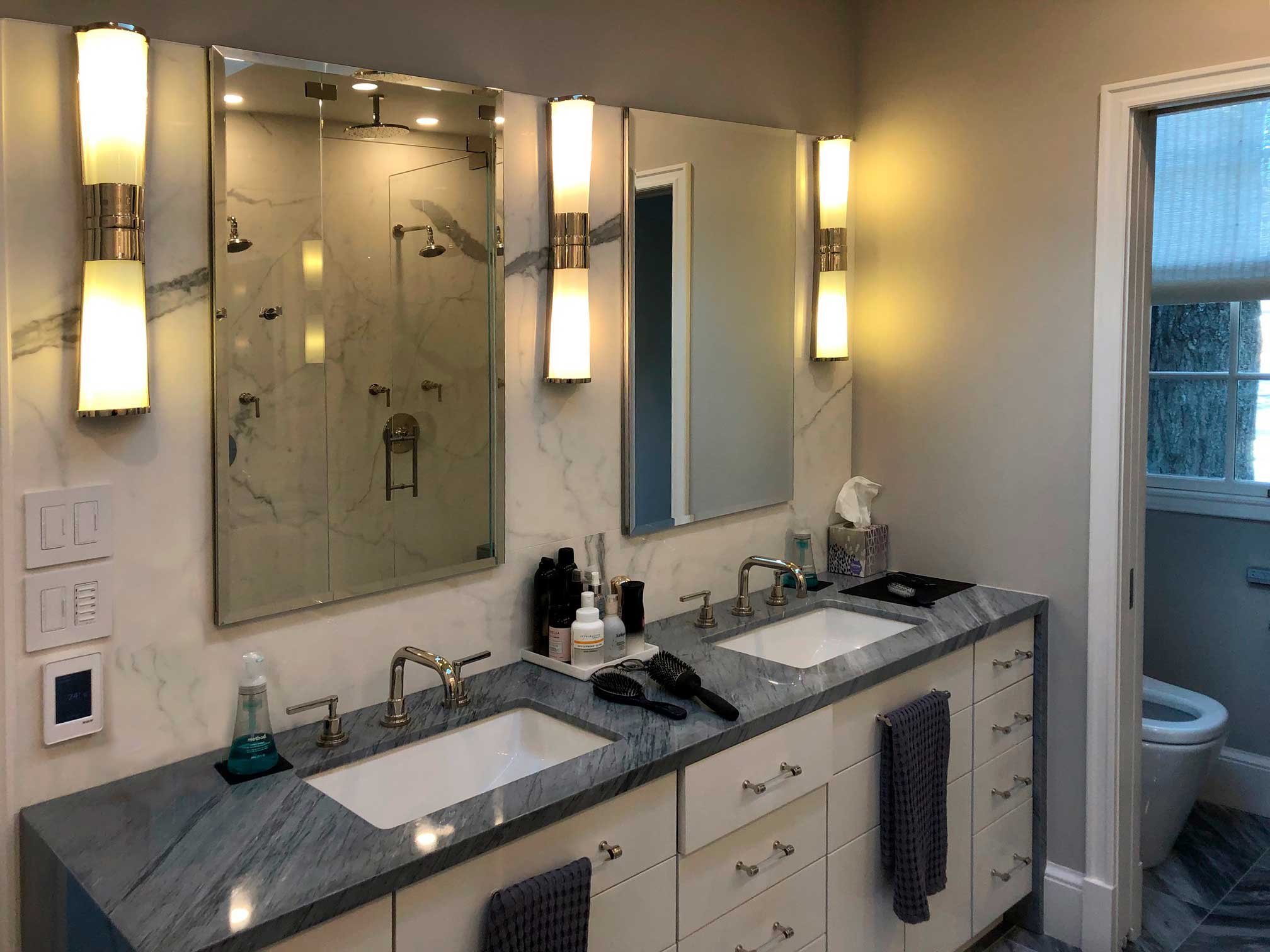 Master suite renovation with double vanity